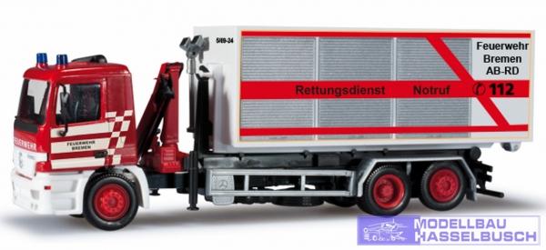 """Mercedes-Benz Actros M Abrollcontainer-LKW mit Kran """"Feuerwehr Bremen"""""""