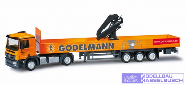 """Mercedes-Benz Actros M Pritschen-Sattelzug mit Kran """"Godelmann"""""""