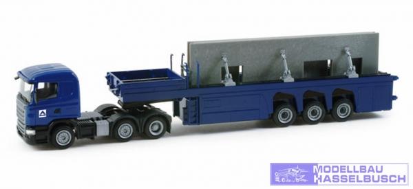 """Scania R 09 HL Betonfertigteile-Sattelzug mit zwei Hausteilen """"Hoch Tief"""""""