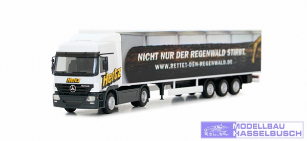 "Mercedes-Benz Actros L Gardinenplanen-Sattelzug ""Hertz"""