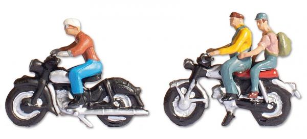 Spur H0 Motorradfahrer, 3 Figuren mit Motorrädern
