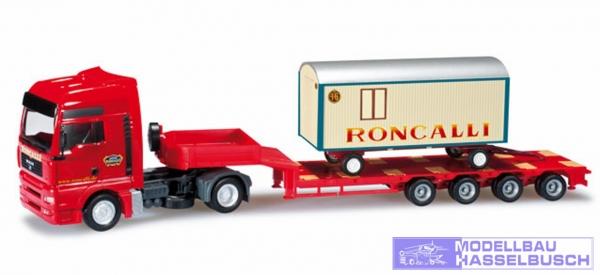 "MAN TGA XXL Semitieflade-Sattelzug mit Circuswagen ""Circus Roncalli"""