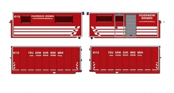 Feuerwehr Bremen- Conatiner-Set AB Unterkunft + U-Boxx