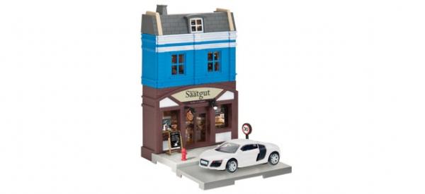 "Herpa City Bäckerei ""blaues OG"" mit Audi ( Weiss)"